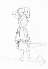 Hairstyle on the beach Drawing