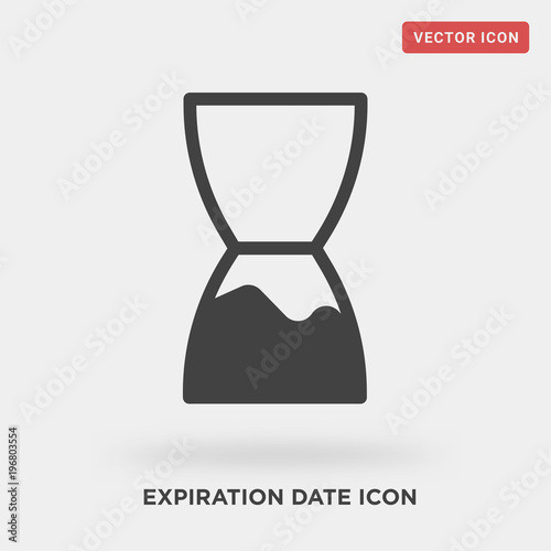 expiration date icon on grey background, in black