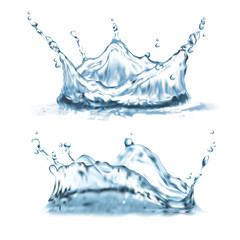 Vector 3d realistic set with water splashes, abstract shapes with droplets, splatter crown, clean and transparent isolated on background. Aqua splashing clipart for package design of refreshing drinks