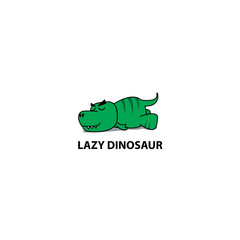 Lazy dinosaur, Funny t-rex sleeping icon, logo design, vector illustration