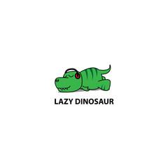 Lazy dinosaur icon, Funny t-rex sleeping with headphones, logo design, vector illustration