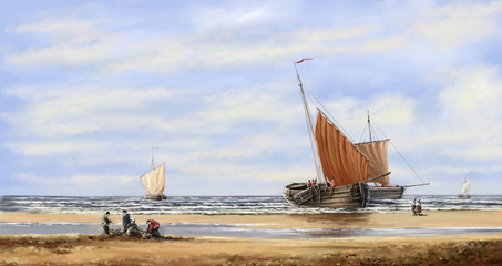 Oil paintings landscape, digital art, sea, fisherman, boats, ships.