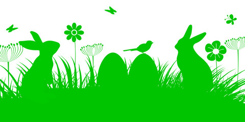 Bunny Sitting In The Meadow with Easter egg, Easter concept with butterfly and birds – vector