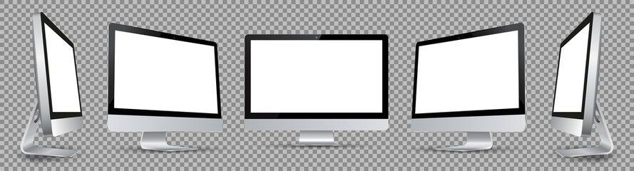 Five black computer monitor with white display in turn - vector