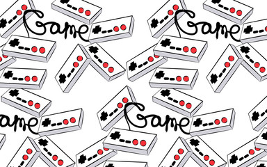 A pattern of old white retro vintage antique hipster joysticks for video game consoles and an inscription game from the 80's, 90's on a white background. Vector illustration