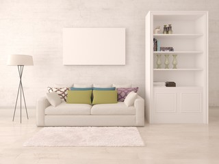 Mock up a stylish living room with a compact sofa and hipster background.