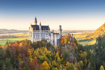 Neuschwanstein Castle in Autumn at sunset.Europe, Germany, Bavaria, southwest Bavaria, Fussen, Schwangau