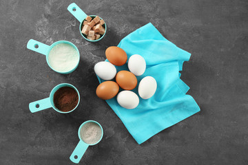 Set of kitchenware and products on grey background. Cooking master classes