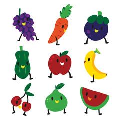 happy fruit character design