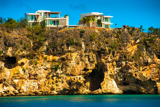 Houses with a view of the little bay in Anguilla