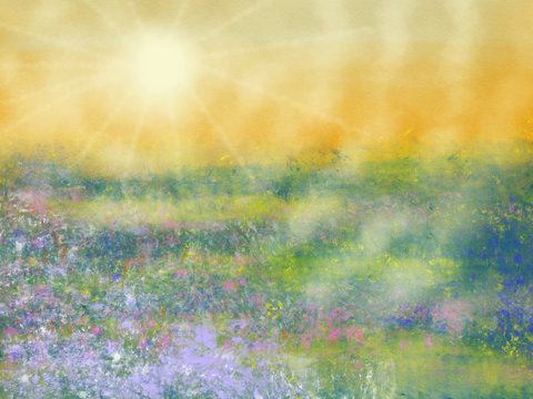 Colorful hand drawn abstract view of field with flowers on yellow watercolor background as sun light, cartoon illustration of spring landscape view painted by watercolor and pastel chalk, high quality