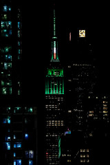 The Empire State Building is lit green for St. Patrick's day in New York City