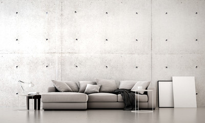 The 3d rendering interior design of modern living room and concrere wall texture pattern background and sea view