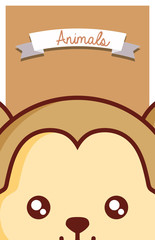 Cute animals design with monkey face background, colorful design vector illustration