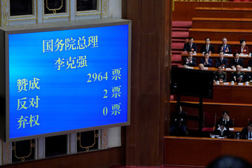 Voting results of Chinese Premier Li Keqiang voted as the premier for another term, is seen on a screen at the sixth plenary session of the NPC at the Great Hall of the People in Beijing