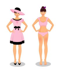 Girls set collection in dress and in underwear bikini on white