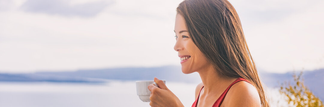 Happy morning woman drinking coffee cup at breakfast hotel view. Smiling Asian girl panoramic banner, summer living.