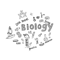 biology theme in sketch style, hand drawn vector illustration