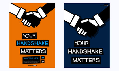 Business Etiquette For Handshakes Poster In Flat Style Retro Design