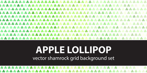 Shamrock pattern set Apple Lollipop. Vector seamless backgrounds