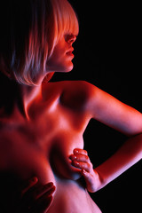 Beautiful Nude Woman in Red lights