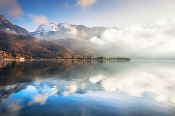Annecy lake in French Alps at sunrise.