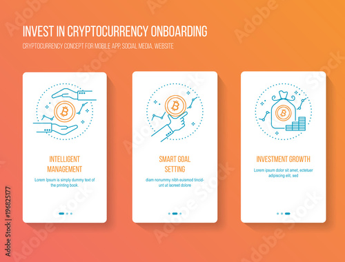 Cryptocurrency investing onboarding mobile app walkthrough screens ...