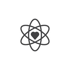 Atom and heart shape vector icon. filled flat sign for mobile concept and web design. Love science, chemistry simple solid icon. Symbol, logo illustration.