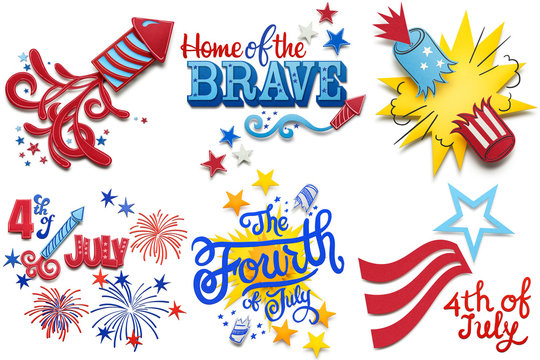 Happy 4th of July / Creative 4th of July concept photo set of fireworks made of paper on white background.