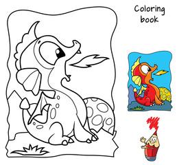 Cute newborn baby dragon. Coloring book. Cartoon vector illustration