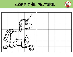 Funny little unicorn. Copy the picture. Coloring book. Educational game for children. Cartoon vector illustration