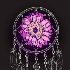 Hand drawn ornate Dream catcher with pink daisy flower on a black background. Vector illustration.