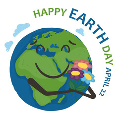 Earth (world planet) is holding a bouquet of flowers and smiling on a white background. Earth day banner.