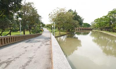 orange cement bridge in Chatuchak public park