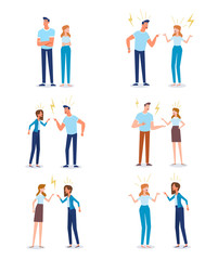 Angry man and woman quarrelling and making a loud public scandal . Vector flat cartoon illustration