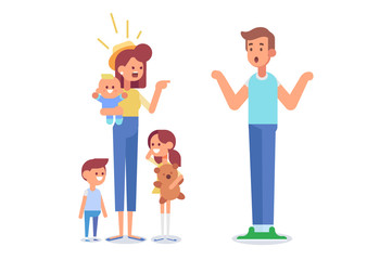 Wife and husband quarrel and make a loud public scandal. Unhappy family. Vector flat cartoon illustration.