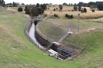 bluestone canal at Malmsbury reservoir site in Australia