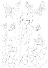 girl, butterflies, flowers on white background