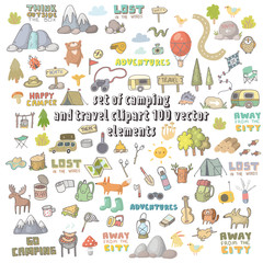 vector set of camping and travel clipart
