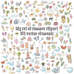 vector set of summer doodle clipart