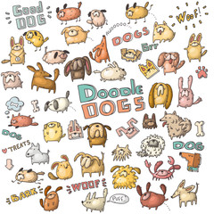 vector set of doodle dogs