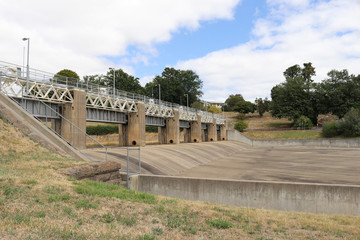 empty spillway with spillway gates up