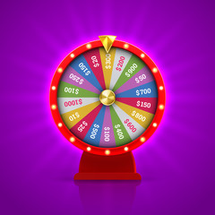 Wheel of fortune roulette for gambling lottery game. Vector gamble game of chance disk with win-win chance. Fortune wheel isolated on bright purple background