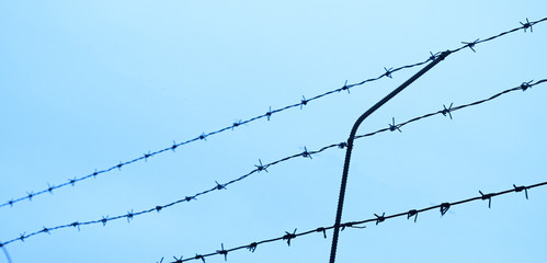 Barbed wire on sky background. A restricted area, a prison.