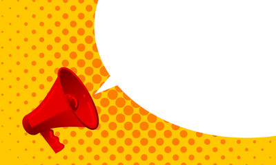 Vector megaphone announce with screaming loud bubble message. Red loudspeaker with alert propaganda message or promotional advertisement concept on yellow orange halfrone teture background