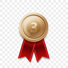 3 winner bronze medal award with ribbon vector realistic icon isolated on transparent background. Number one 3rd third place or best victory champion prize award bronze golden shiny medal badge