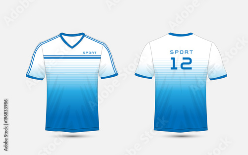 396a48dd Blue and white lines layout football sport t-shirt, kits, jersey, shirt  design template