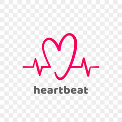 Heart and heartbeat logo vector icon. Isolated modern heart symbol for cardiology medical center or charity, Valentine love or wedding greeting card fashion design for web social net application