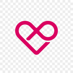 Heart logo vector infinity loop icon. Isolated modern heart symbol for cardiology medical center or charity, Valentine love or wedding greeting card fashion design for web social net application