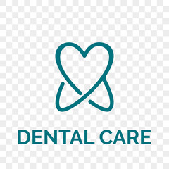 Tooth logo icon for dentist or stomatology dental care design template. Vector isolated line white and blue shine tooth symbol for dentistry clinic or dentist medical center and toothpaste package